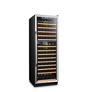 LANBO Wine Cellar Refrigerator, 160 Bottle Dual Zone Compressor Red Wine Cooler, Black and Stainless Steel Trim