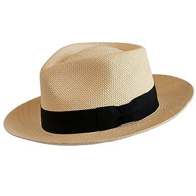 fe977332ec399d Levine Hat Co. Genuine Panama Bogart Fedora Straw Dress Hat (Medium (fits 7