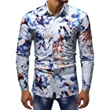 Lolittas Mens Shirt Long Sleeve Top Casual Pattern V Neck Polo Work Formal High Slim Fit Turn Down Collar Tunic Floral M-XXL