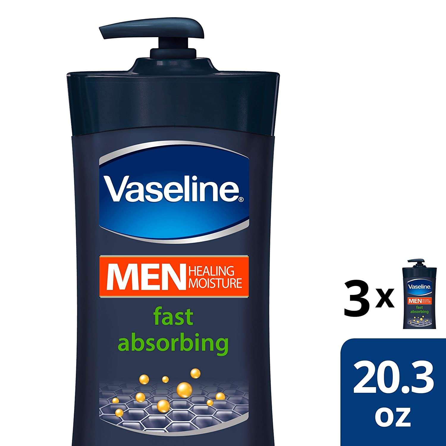 Vaseline Men Body Lotion Fast Absorbing Healing Lotion 20.3 oz 3 ct