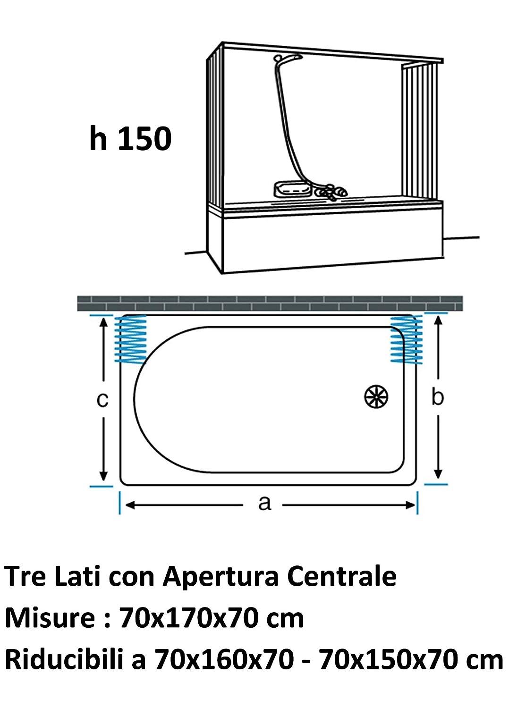 Box Vasca Soffietto 3 lati 70x170x70 riducibile