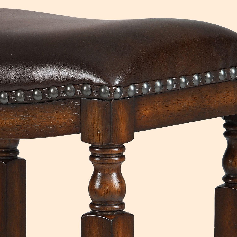 Ordinaire Amazon.com: Ashton Top Grain Leather Seat Bar Stool, Walnut Finish: Kitchen  U0026 Dining