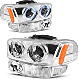 For 00-06 GMC Sierra/Yukon Denali Halo Projector Headlight Assembly w/LED + Parking Bumper Lamp, Chrome Housing Clear Lens, One-Year Limited Warranty (Driver and Passenger Side)