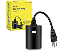WiFi Plug Outdoor Smart Outlet with Dimming Feature, Voice Control, Work with Dimmable String Lights, No Hub Required, Max Po