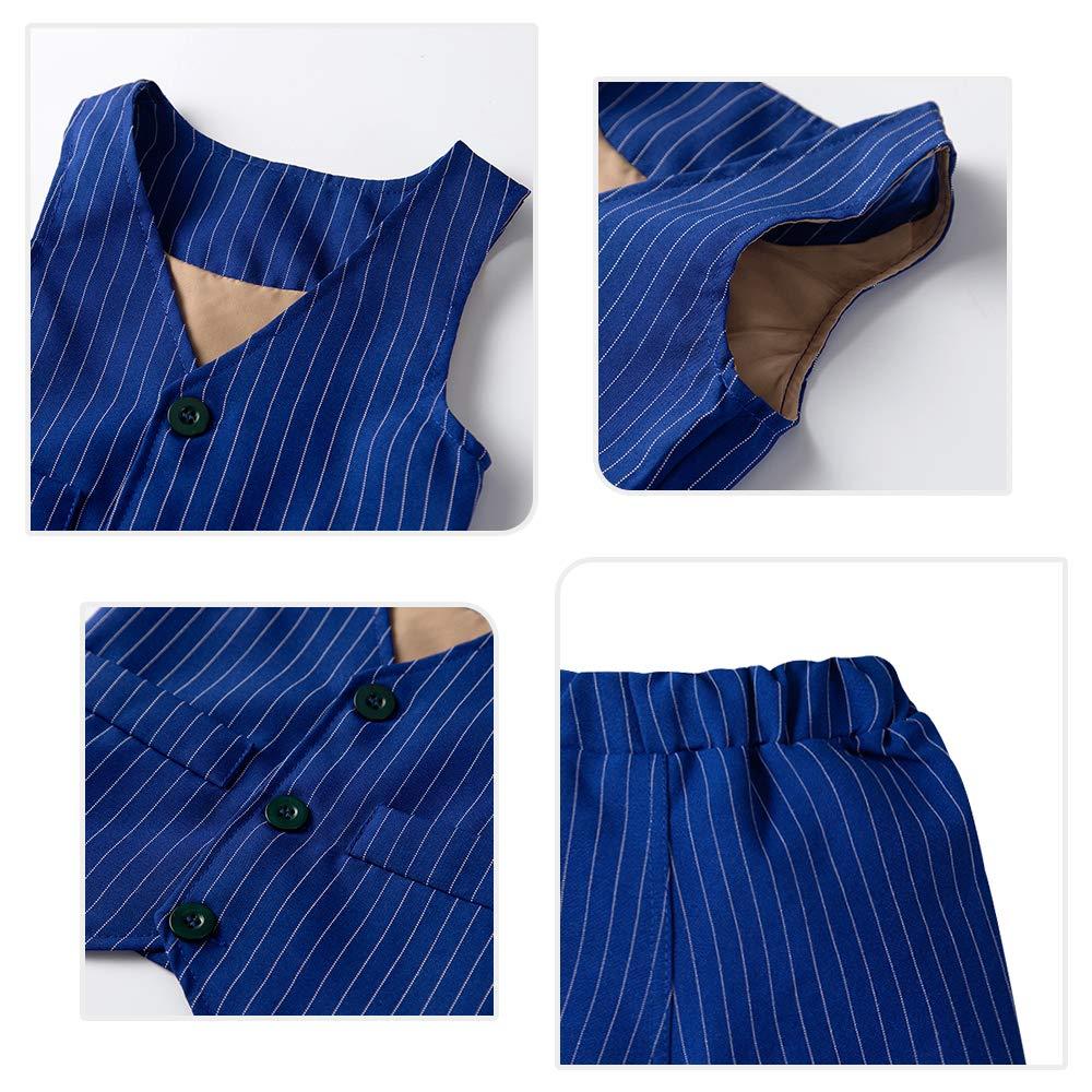Pantaloni Ragazzo Gentleman Nozze Smoking Battesimo Completino Yilaku Bambini Ragazzi Abbigliamento Set Camicia con Papillon Gilet