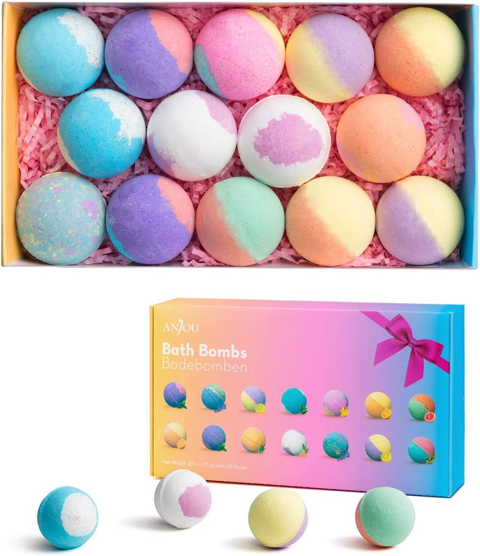 Anjou Bath Bombs Gift Set, 14-Pack Organic Natural Bath Bombs Set with Vegan Essential Oils £12.99 w/code SYQ5SPZ6 @ Amazon