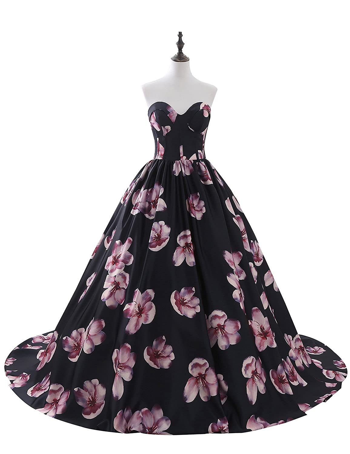 Black YSMei Women's Long Strapless Dress Girl's Floral Print Satin Evening Gown ON029
