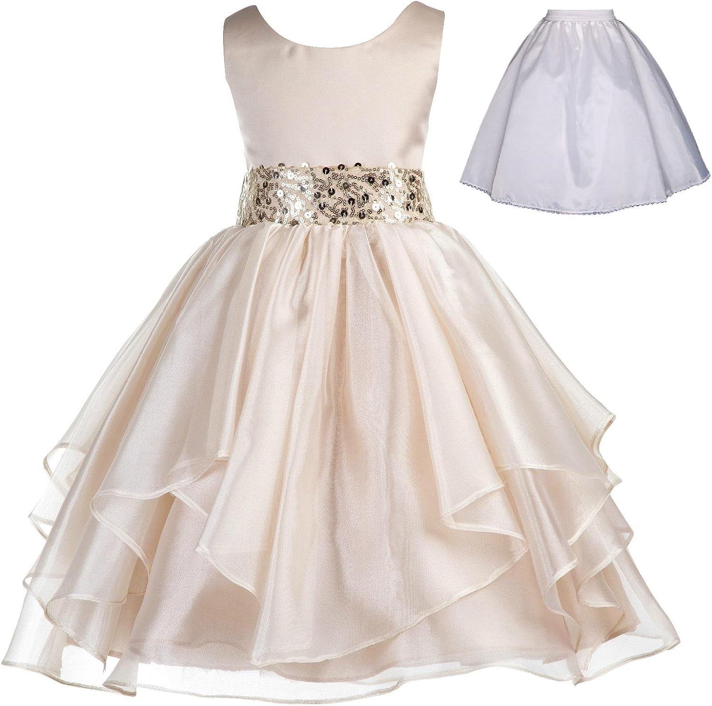 ekidsbridal Wedding Ruffles Organza Flower Girl Dress Sequin Toddler Pageant Free Petticoat 012s