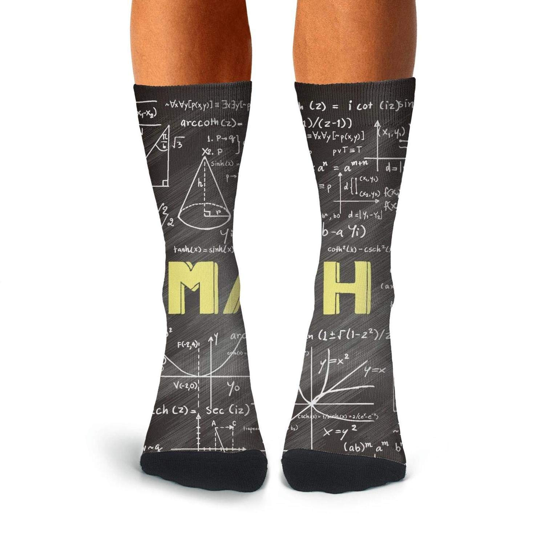 KCOSSH Math Unique Calf Socks Print Crew Sock For Men Knee High Long Stockings