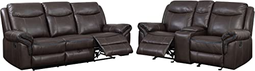 HOMES Inside Out Sienna Transitional 2-Piece Leather Sofa Recliner Set