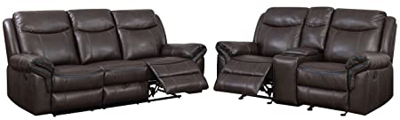 HOMES Inside Out IDF-6297-2PC Sienna Transitional 2-Piece Leather Sofa Recliner Set