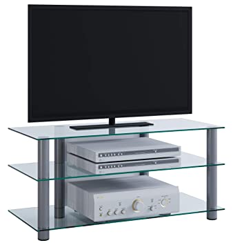Table Tv En Verre.Vcm Tv Hifi Av Furniture Lowboard Entertainment Unit Shelf Table Glass Netasa In Aluminium Glass Finish Silver Clear