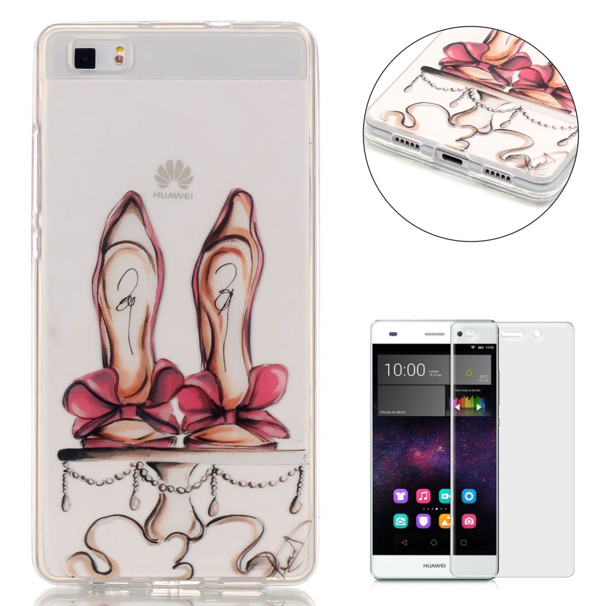 CaseHome For HUAWEI P8 Lite silicone TPU Case Shock Proof Durable [Free Screen Protector]