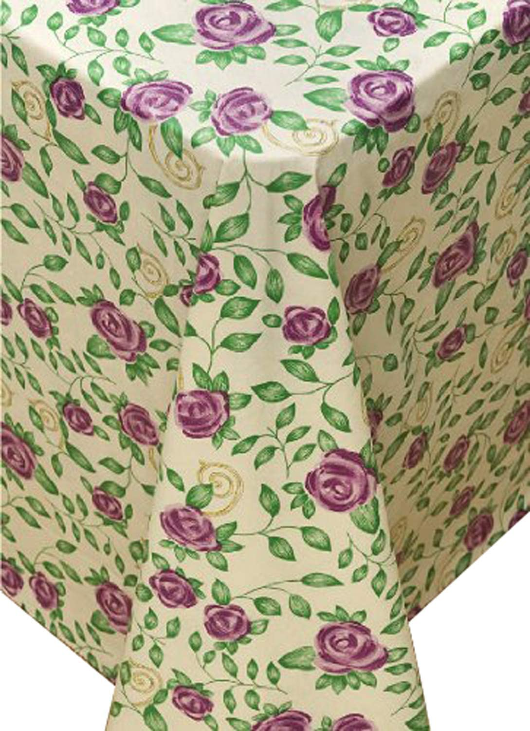Broder Manufacturing Inc Rose Time Flannel Backed Vinyl Tablecloth, 52x52 Square