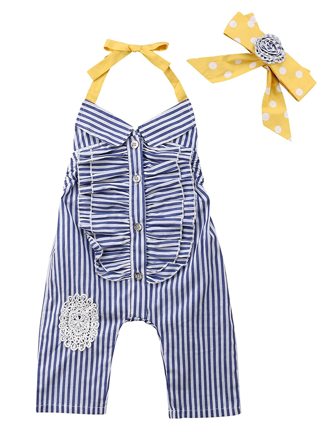 Infant Baby Girl Lovely Striped Butterfly Collar/&Bowknot Hammock Sleeveless Jumpsuits Floral Romper+Headband
