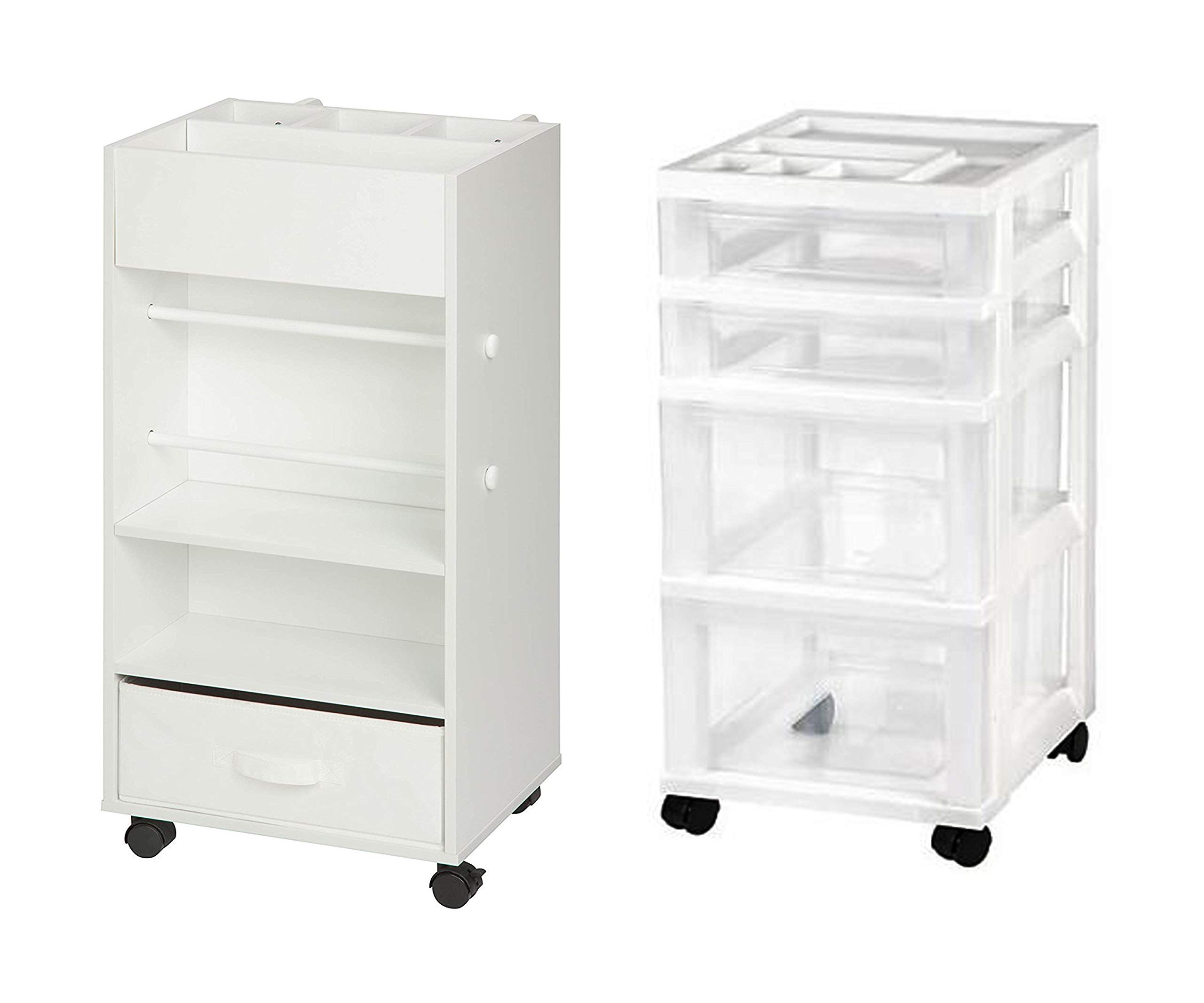 Honey Can Do Rolling Storage Cart with Fabric Drawer, White Bundle with IRIS 4-Drawer Storage Cart with Organizer Top, White