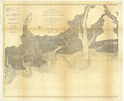 Amazon.com: 8 x 12 inch 1873 US old nautical map drawing chart of ...