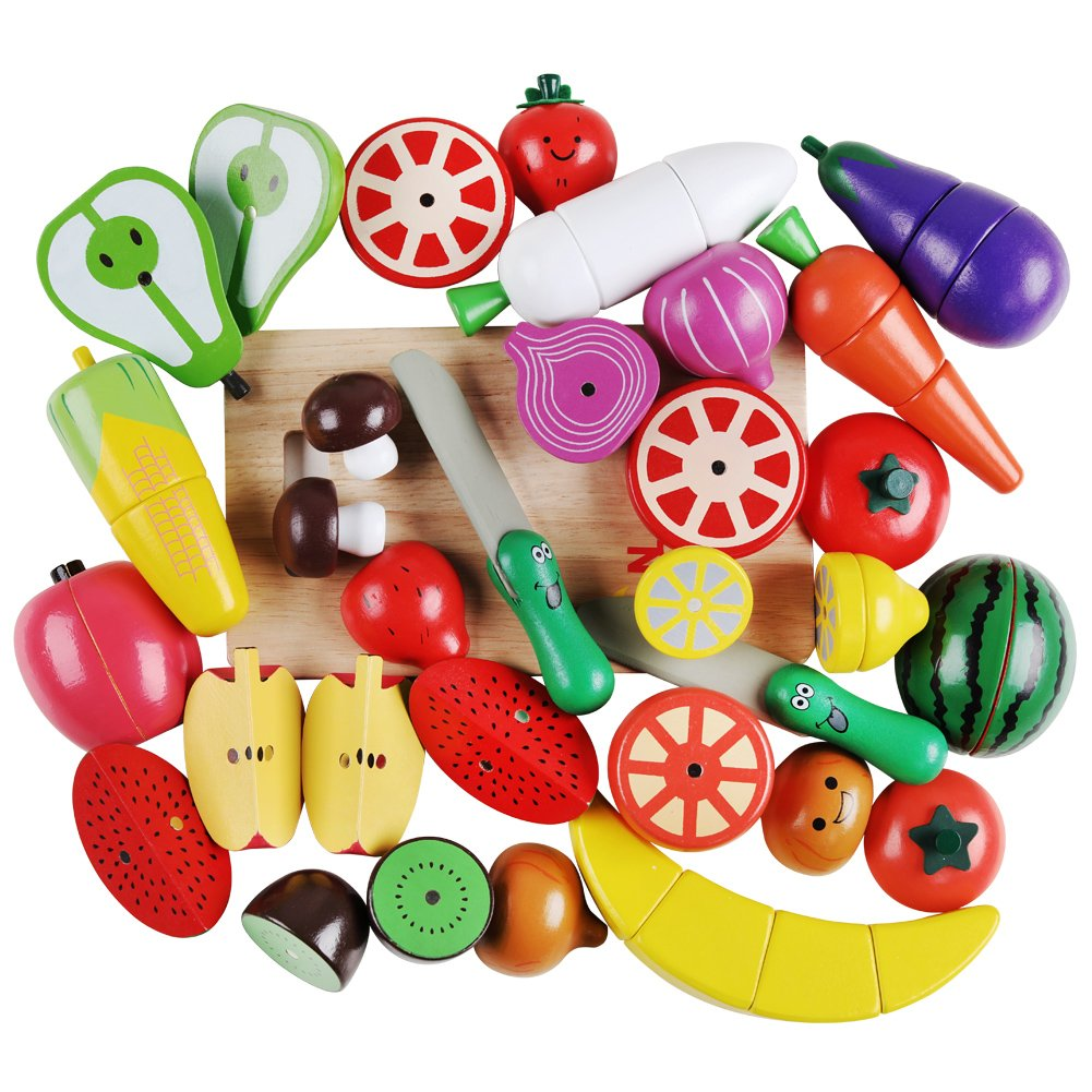 Wooden Cutting Cooking Food Sets with Magnetic Fruit Vegetables Pretend Food Kitchen Playset, Early Educational Development, Learning Gift for Toddler Boys Girls 2, 3, 4, 5, 6 Years Old by QZMTOY