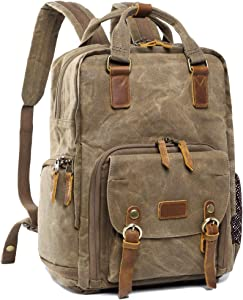 S-ZONE Water-Repellent Canvas Camera Backpack Bag Men Women 14 inch Laptop Tripod