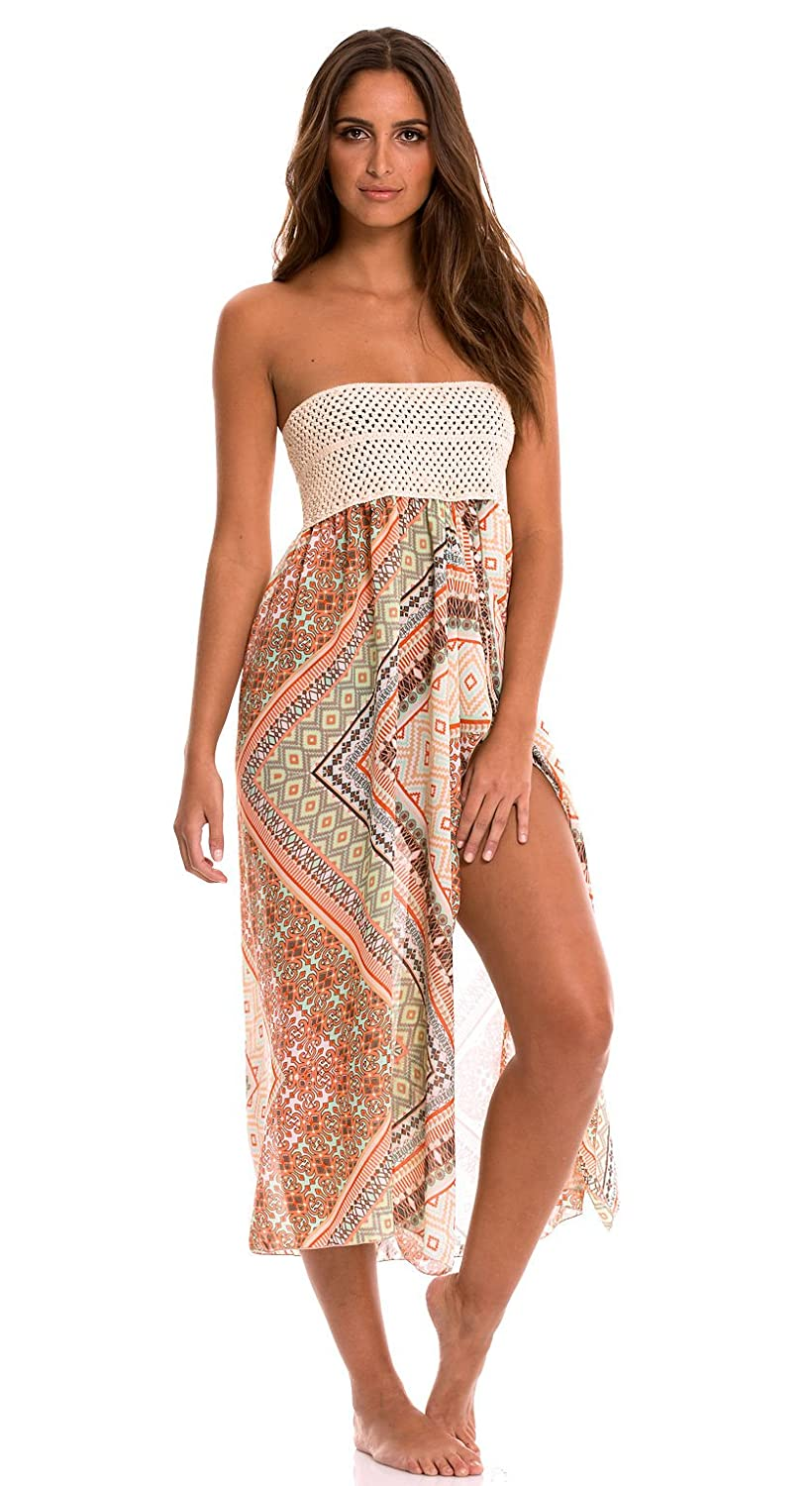 cf07c47d3011 ELAN Women's Strapless Crochet Top Beach Cover-Up Maxi at Amazon Women's  Clothing store:
