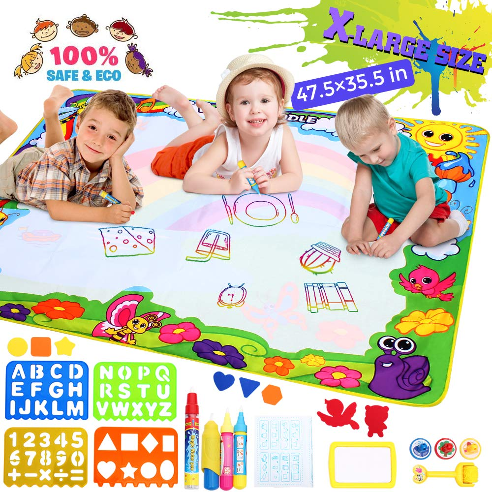 Aqua Doodle Mat X-Large Water Doodle Drawing Mat Kids Painting Writing Doodle Board Colors Aqua Magic Mat Educational Toys for Toddlers Boys Girls Kids 2 3 4 5 6-12 Year Old (green X-large 48x36in)