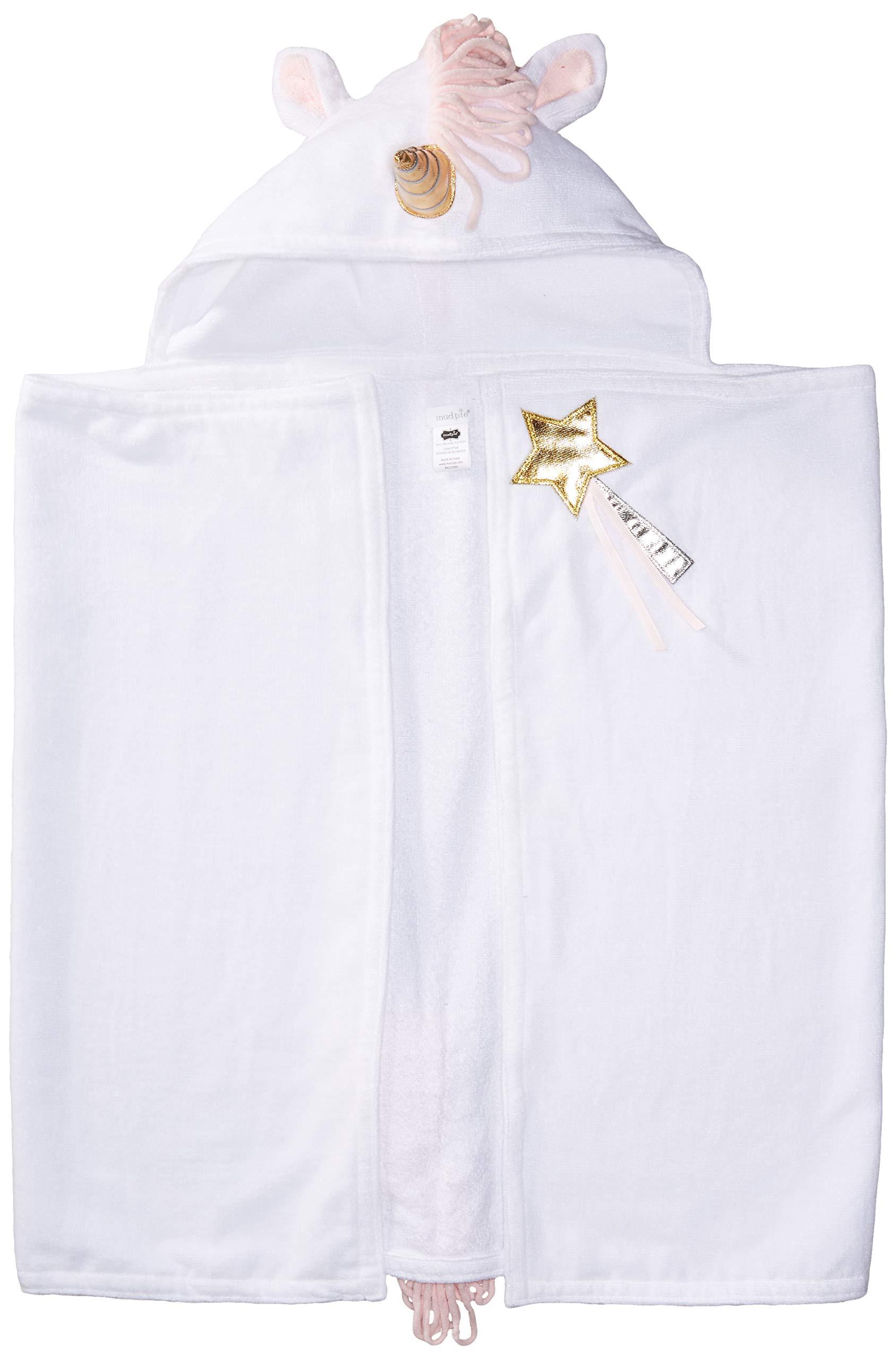 Mud Pie Baby Girls Unicorn Hooded Bath Towel, White, One Size by Mud Pie