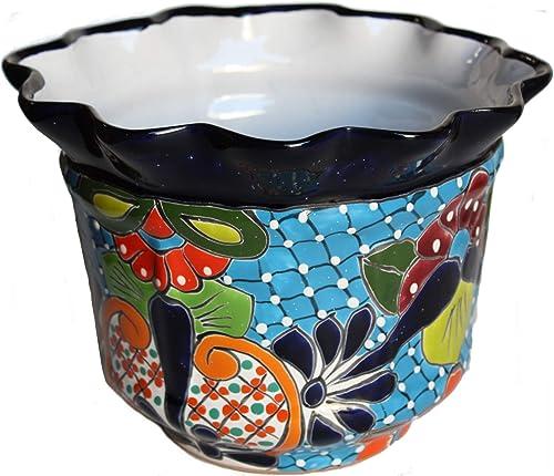 Fine Crafts Imports Duero Mexican Colors Talavera Ceramic Garden Pot