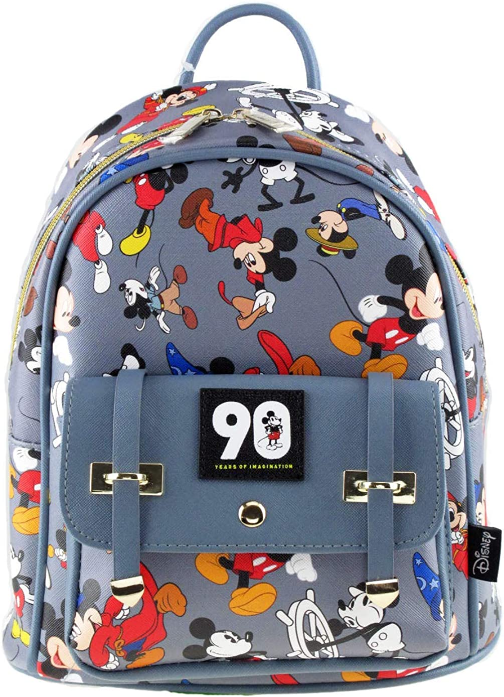 Mickey Mouse 90th Anniversary 10 Faux Leather All Over Print Backpack