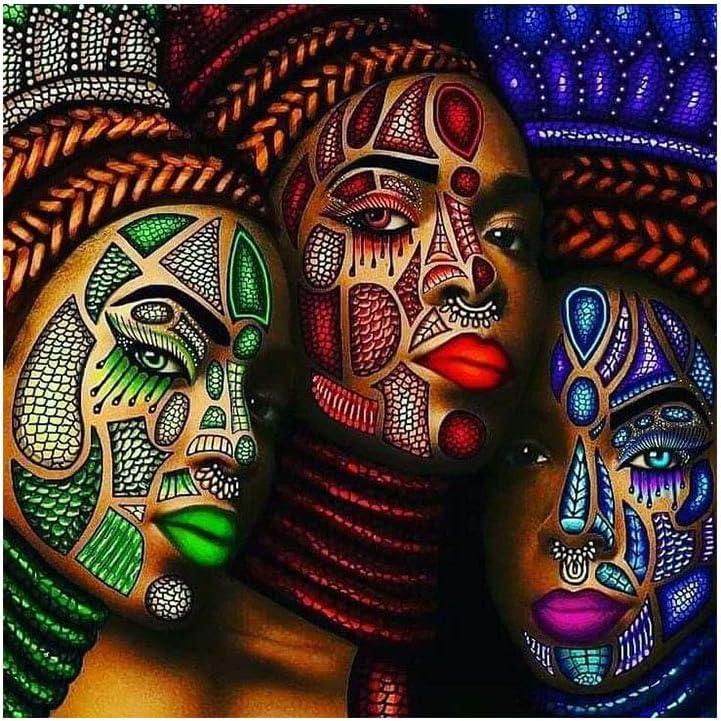 Kit Pittura Diamante 5D DIY Per numero Africa donna che balla Diamond Painting Full Drill Cristallo Strass Punto Croce Ricamo Tela Art Craft la Decorazione Domestica Round drill,30x60cm 12*24in