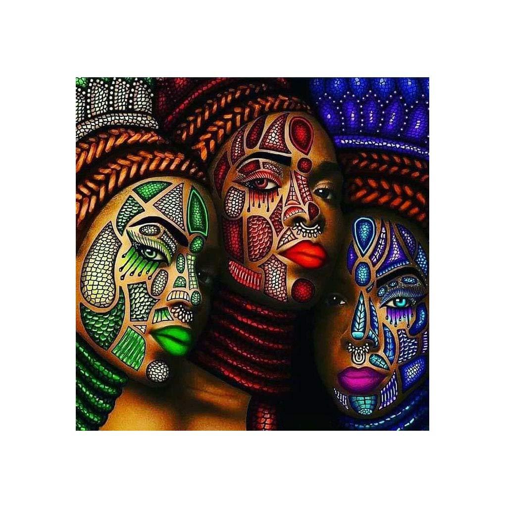 Kit de broderie diamant peinture 5D peinture par num/éros adultes,diamond painting strass complet pour d/écoration murale en toile Motif femme africaine 30 x 30 cm
