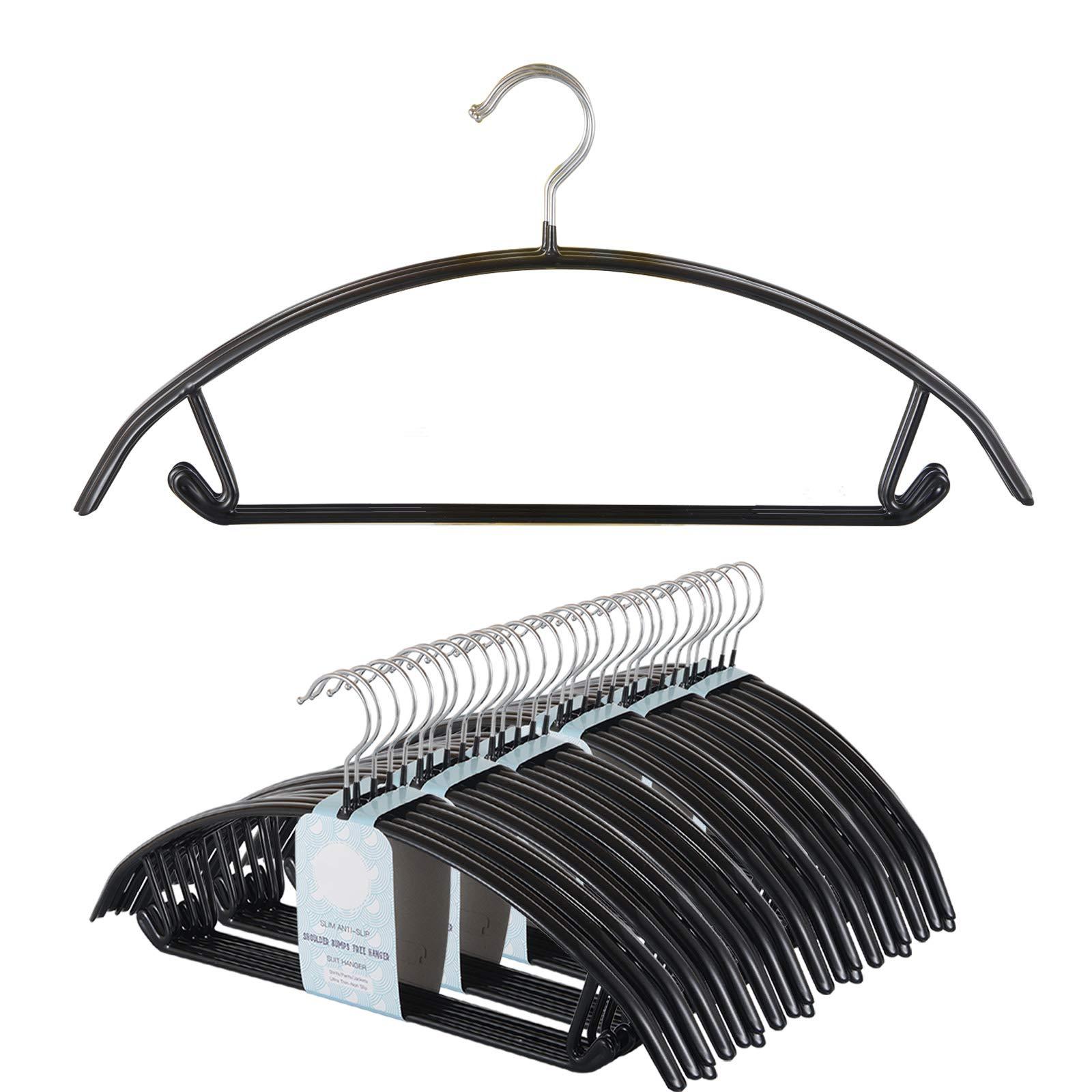 491a0833bea Voilamart Bump Free Clothes Hangers 30 Pack, Non Slip Dry Wet Hangers, No  Shoulder