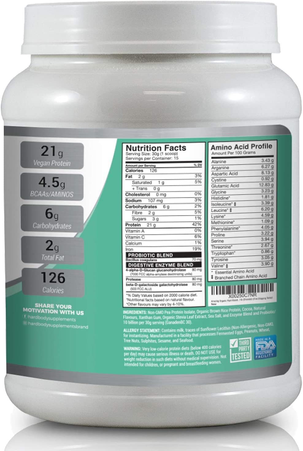 Asombrosas Orgánicas base de plantas Vegana Polvo de Proteína : el mejor polvo de proteína vegana para hombres y mujeres (Chocolate Bliss, 15 Serving)