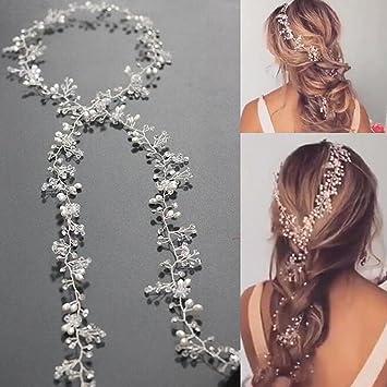 Amazon yean wedding hair vine long silver bridal headband hair yean wedding hair vine long silver bridal headband hair accessories for bride and bridesmaid 100cm junglespirit Choice Image
