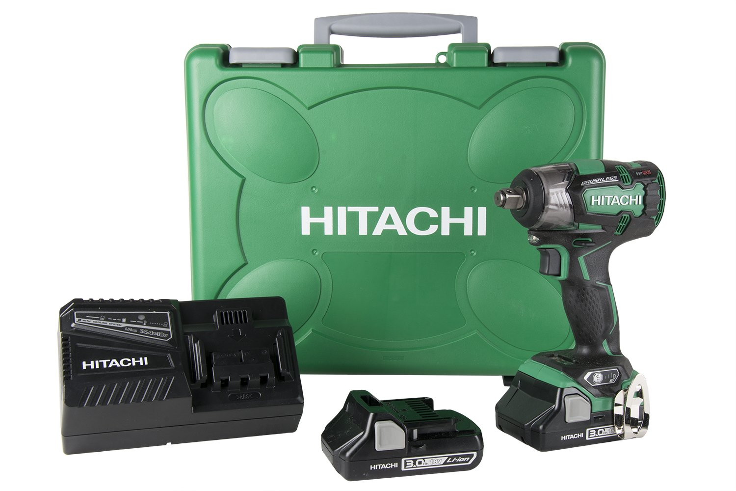 "Hitachi WR18DBDL2 18V Brushless Lithium Ion Cordless 1/2"" Impact Wrench Kit with Two 3.0Ah Batteries"