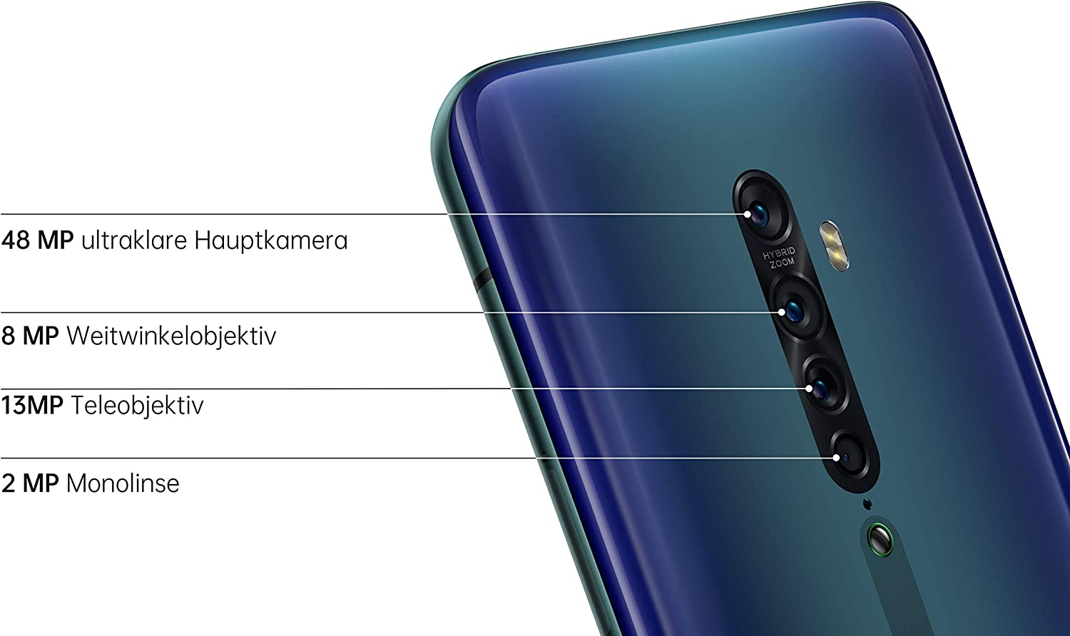Deutsche Version inkl Dual SIM OPPO Reno2 Smartphone 16,5 cm Quad-KI-Hauptkamera// Pop-up-Frontkamera 6,5 Zoll Schutzcover AMOLED Display 256 GB interner Speicher 8 GB RAM luminous black