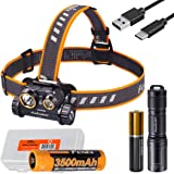 Gift Bundle: Fenix HM65R 1400 Lumen Dual Beam Rechargeable Headlamp with E01 V2.0 EDC Flashlight and LumenTac Battery Case