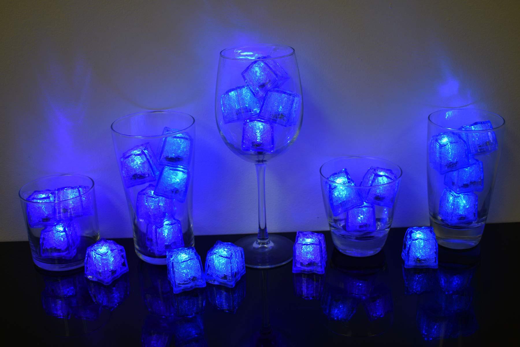 Litecubes Brand Jewel Color Tinted Sapphire Blue 3 Mode Light up LED Ice Cubes (24)