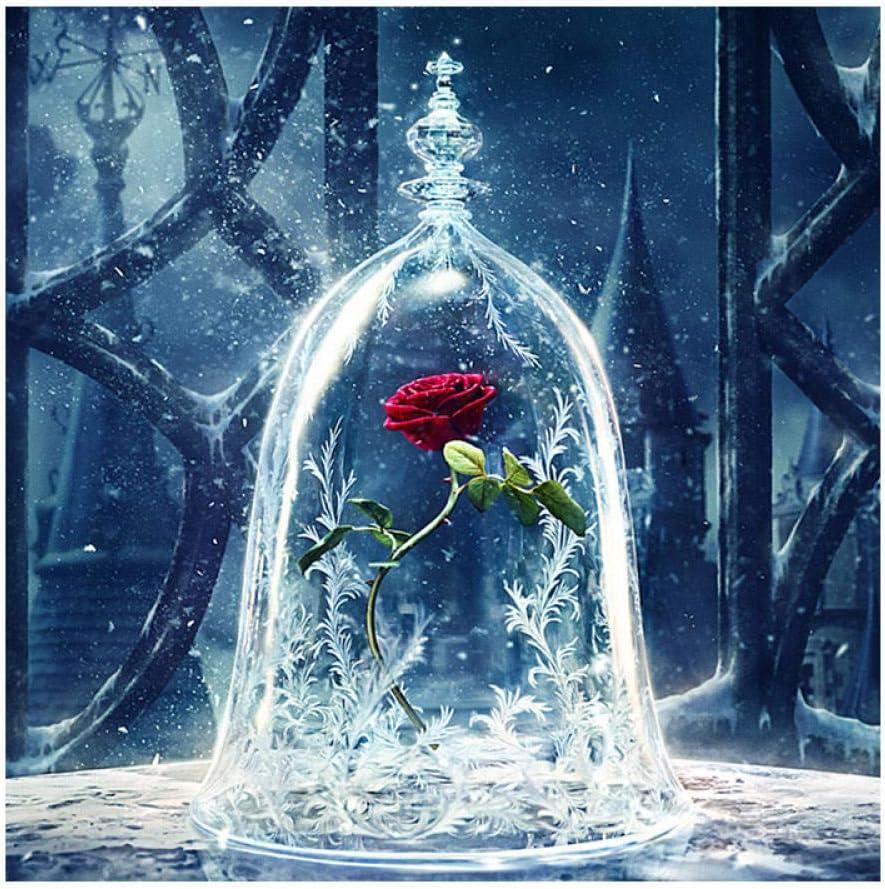 GJYAC Pintura diamante Flor de diamante bordado diy pintura diamante rojo hielo rosa bestia bella plaza completa//ronda punto de cruz rhinestone decoraci/ón