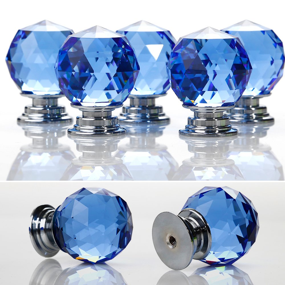Crystal Door Knobs, 5 X 30MM Crystal Glass Diamond Cut Door Knobs Kitchen Cabinet Drawer Knobs with Screw for Home Decorating, Blue