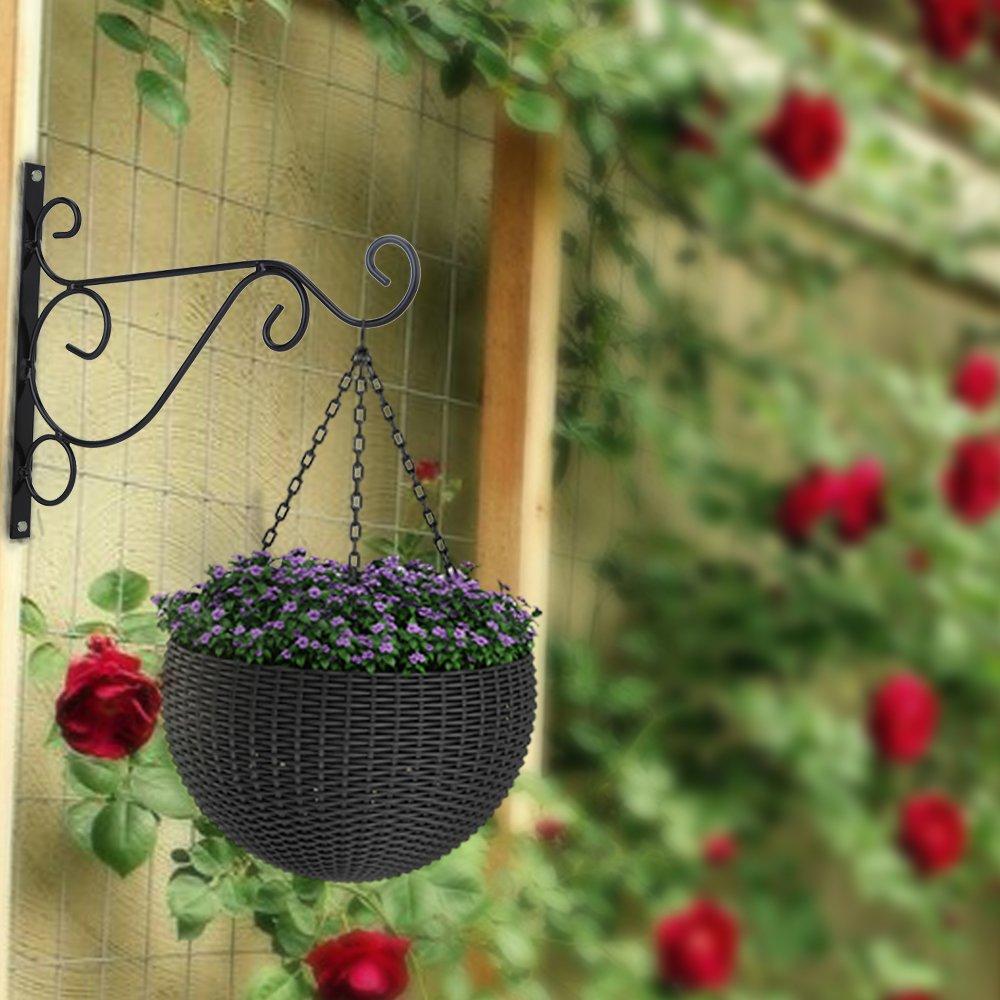 Venfon 3-Pack 10'' Flower Plant Pot Hooks Hangers Outdoor Lawn Iron Bracket For Planter Bird Feeder Lantern Windbell Wind Chimes With Screws (black) by HHXRISE (Image #2)