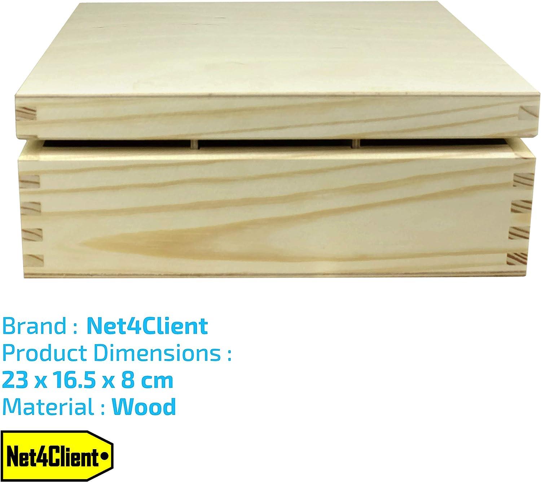 Net4Client Scatole di t/è in Scatola di Legno di Scatole di Zucchero di t/è in Legno di puro Legno di Buona Qualit/à /È una Delle Piccole Scatole di Immagazzinaggio Ideali per la Tazza di t/è Veloce