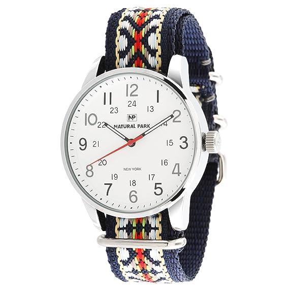 Relojes unisex casuales con dial blanco y bandas de reloj de nailon