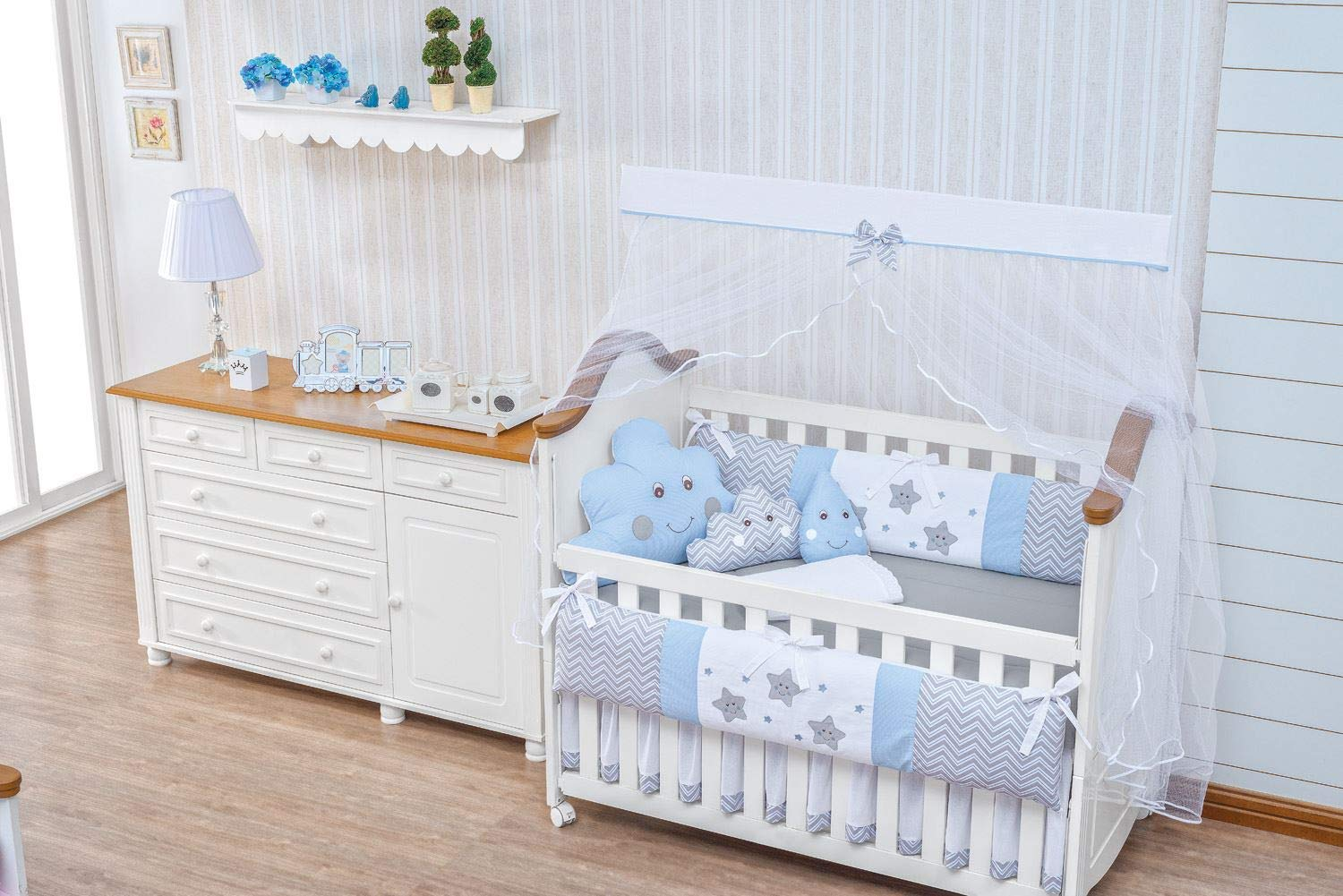 Little Happy Cloud Star Raindrop Theme Blue Chevron Baby Boy 10 pcs Nursery Bedding Set with Cushions Cloud Raindrop + Sheet Set + Bumpers + Crib Skirt