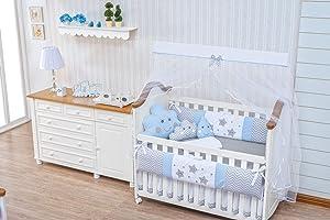 Little Happy Cloud Star Raindrop Theme Blue Chevron Baby Boy 10 pcs Nursery Bedding Set with Cushions Cloud Raindrop + Sheet Set + Bumpers + Crib Skirt