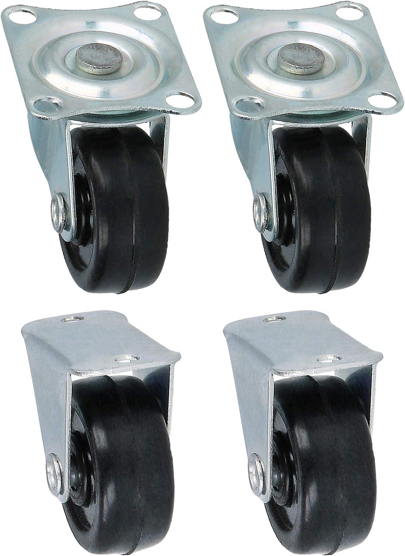 com-four® 4 Ruedas pequeñas para atornillar/Ruedas giratorias para Muebles 2X con y 2X sin rodamientos giratorios, Rodillos de Transporte con rodamiento Giratorio (04 Piezas - 30mm 80kg sin Freno)
