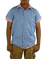 SCOTCH & SODA Men's Short Sleeve Check Shirt, Large, Lt. Blue TRIM FIT.