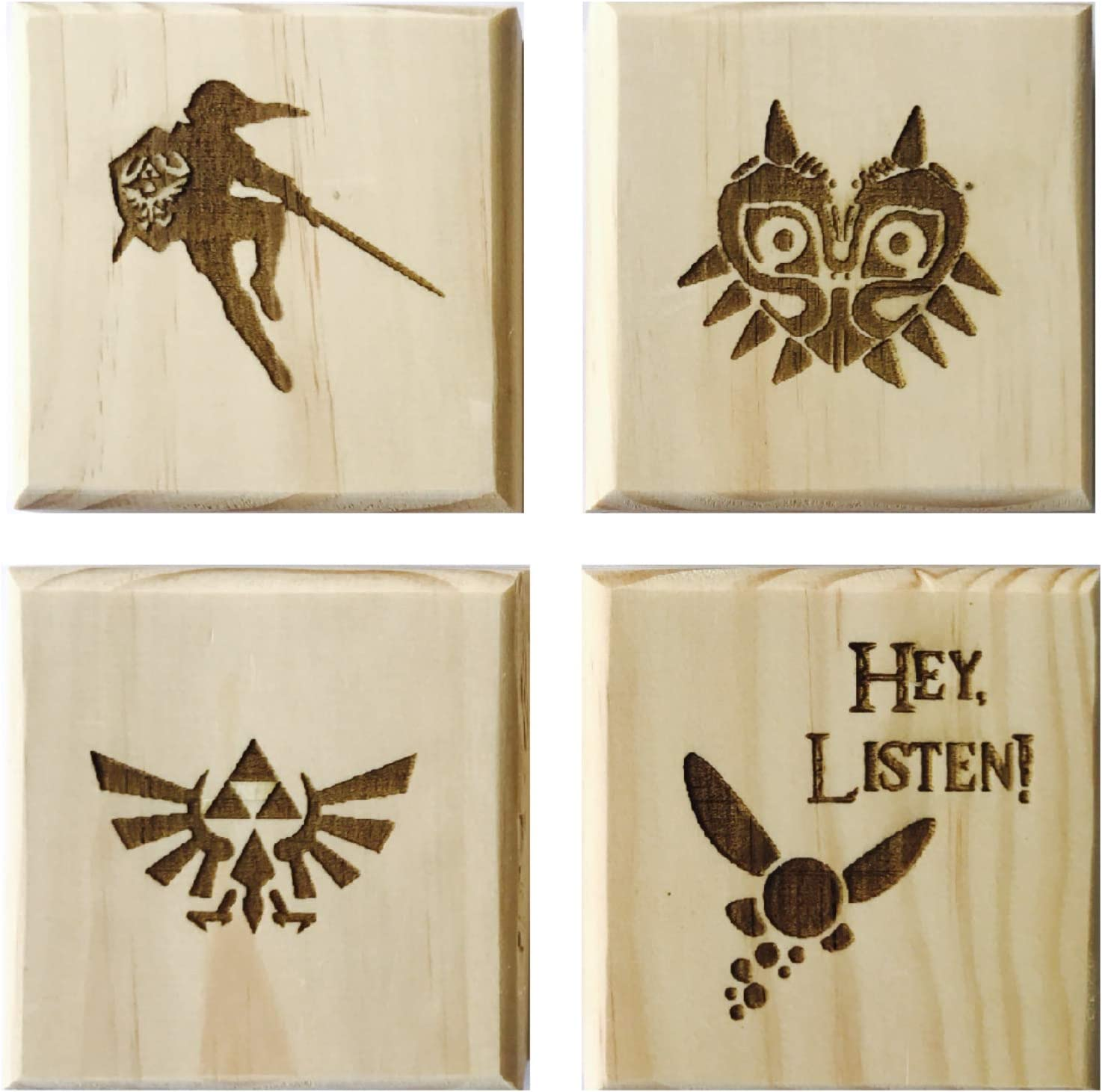 Zelda Inspired Permanent Engraved Set of 4 Wood Coasters: Link, Navi, Majora, Triforce