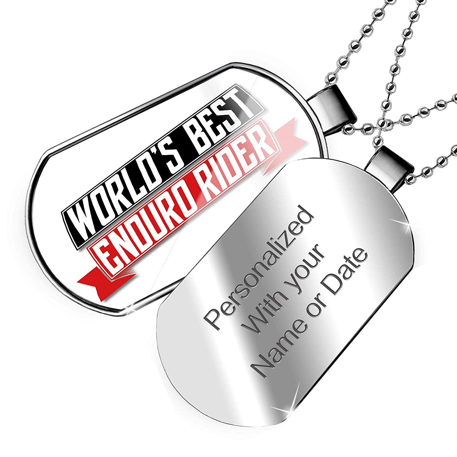 NEONBLOND Personalized Name Engraved Worlds Best Enduro Rider Dogtag Necklace