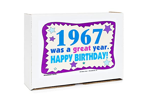 Woodstock Candy ~ 1967 53rd Birthday Gift Box of Nostalgic Retro Candy Mix from Childhood for 53 Year Old Man or Woman Born 1967 Jr