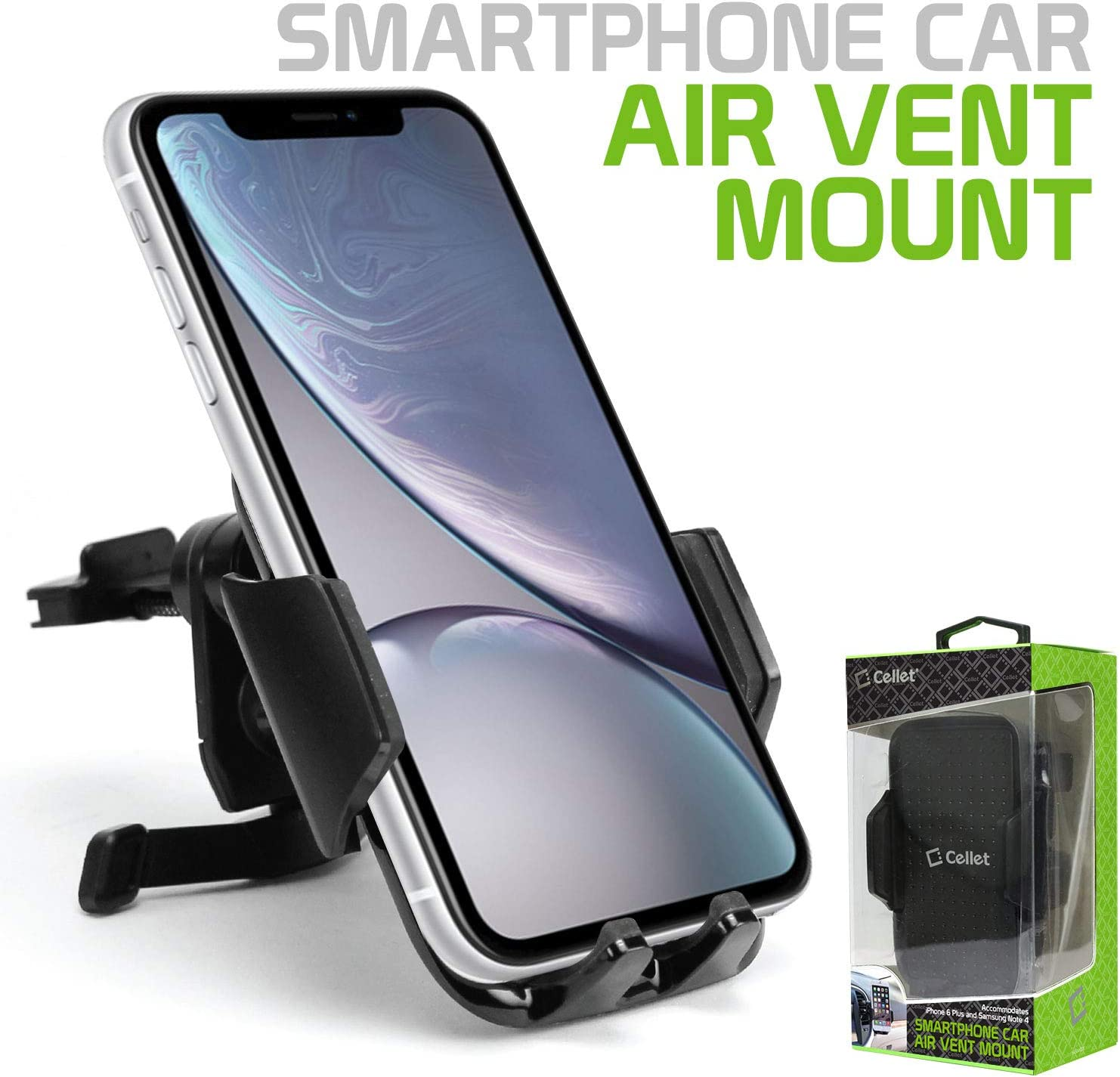 J2 S9 S8 Pixel 4 3 XL Cellet Vehicle Air Vent Phone Holder One Touch Universal Cradle Compatible With iPhone 11 Pro Max Xr Xs Max Xs X SE 8 Plus 7 6S Note 10 5G 9 8 Galaxy S10 5G S10 S10e S10